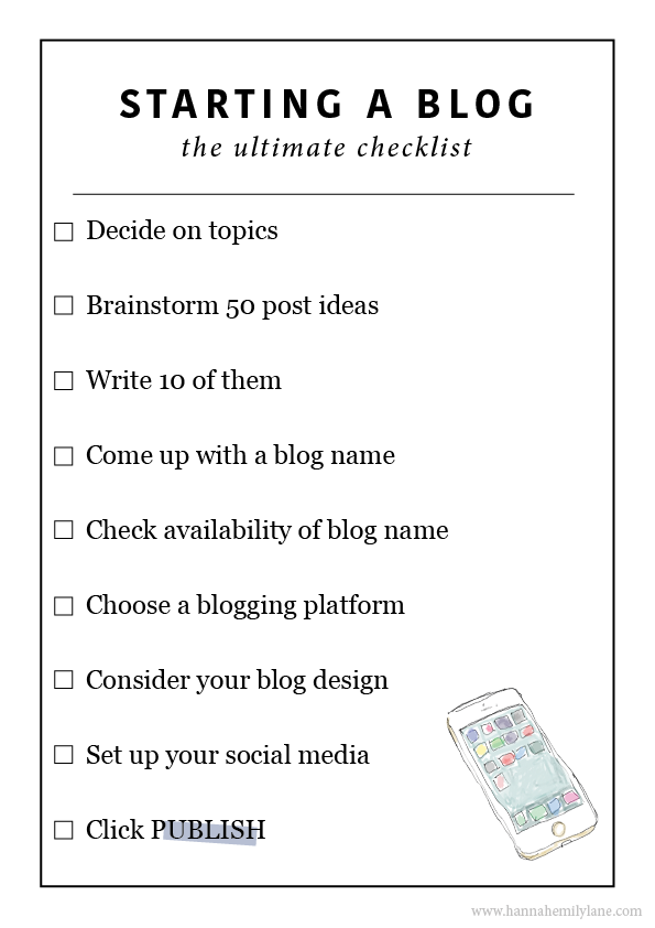 Starting a blog checklist