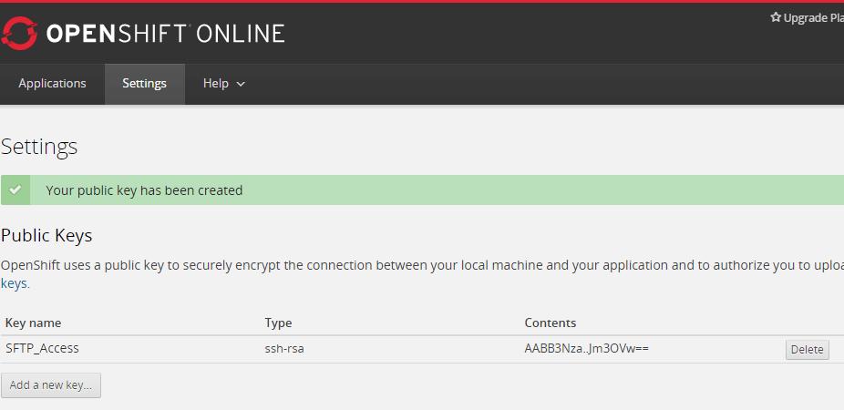 設定成功的公開金鑰會顯示在 [Settings] 標籤頁