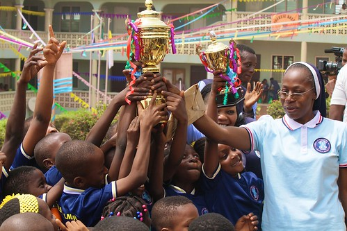 Headmistress, Felicia Ogundana SSL, rejoices with overall winners
