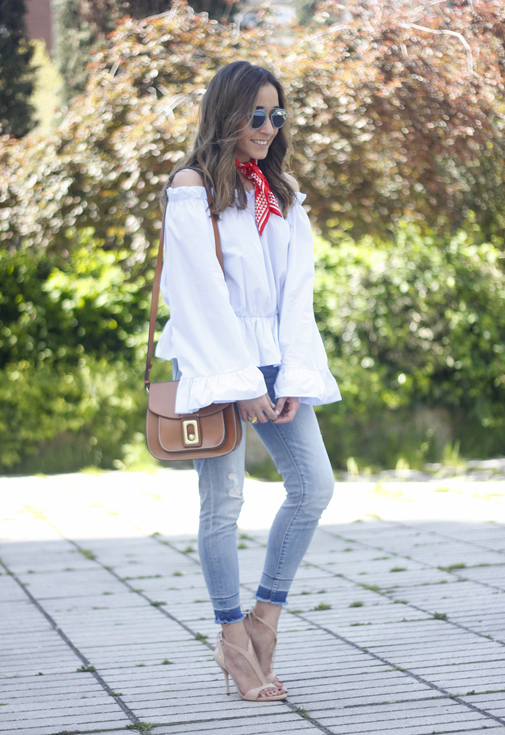 off the shoulders top with bell sleeves red bandana nude heels dior sunglasses spring outfit04