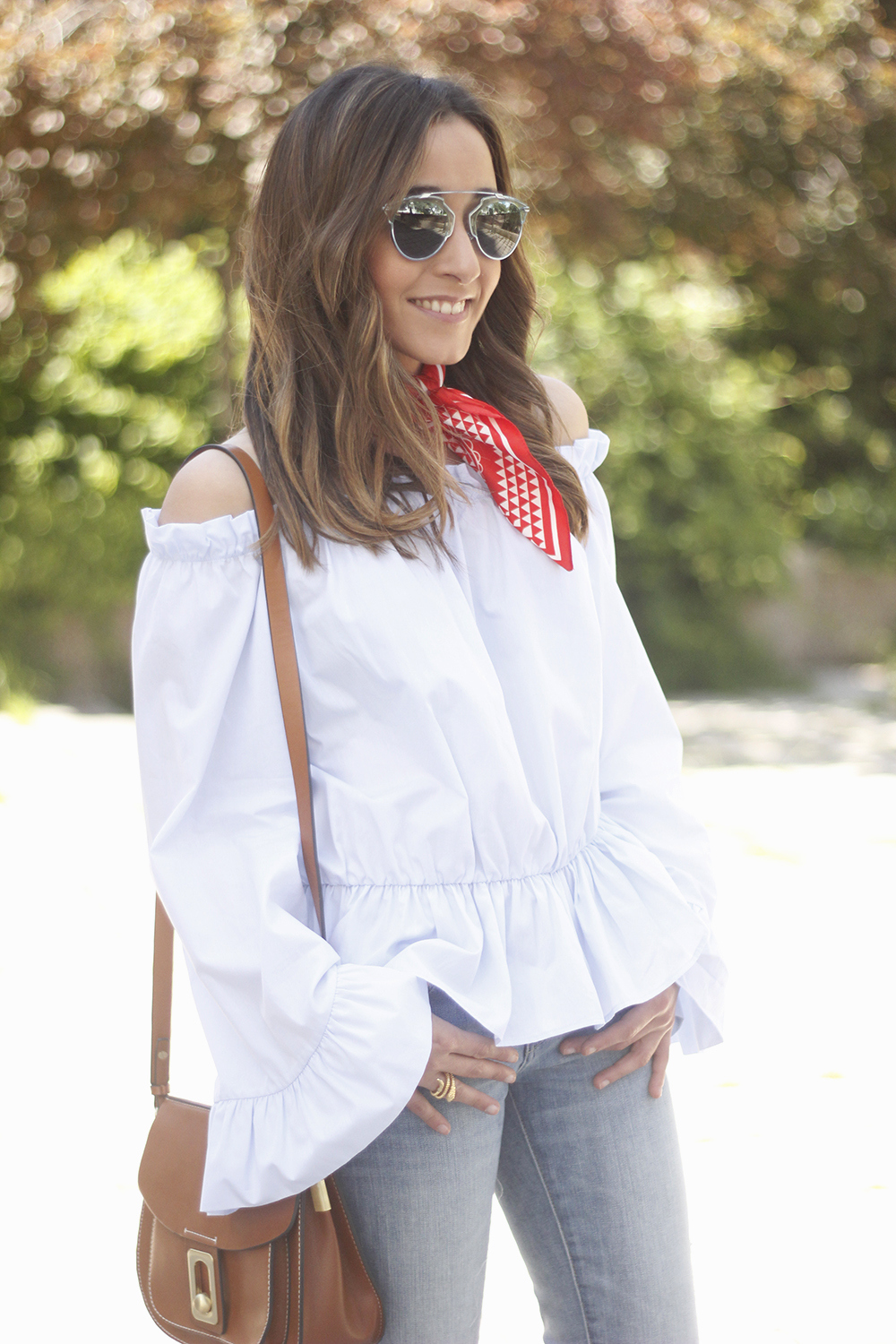 off the shoulders top with bell sleeves red bandana nude heels dior sunglasses spring outfit21