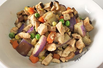 00. Stir Fried Chicken with  Vegetable Medley (Mushrooms, Eggplants, Peas, Carrots, Corn(