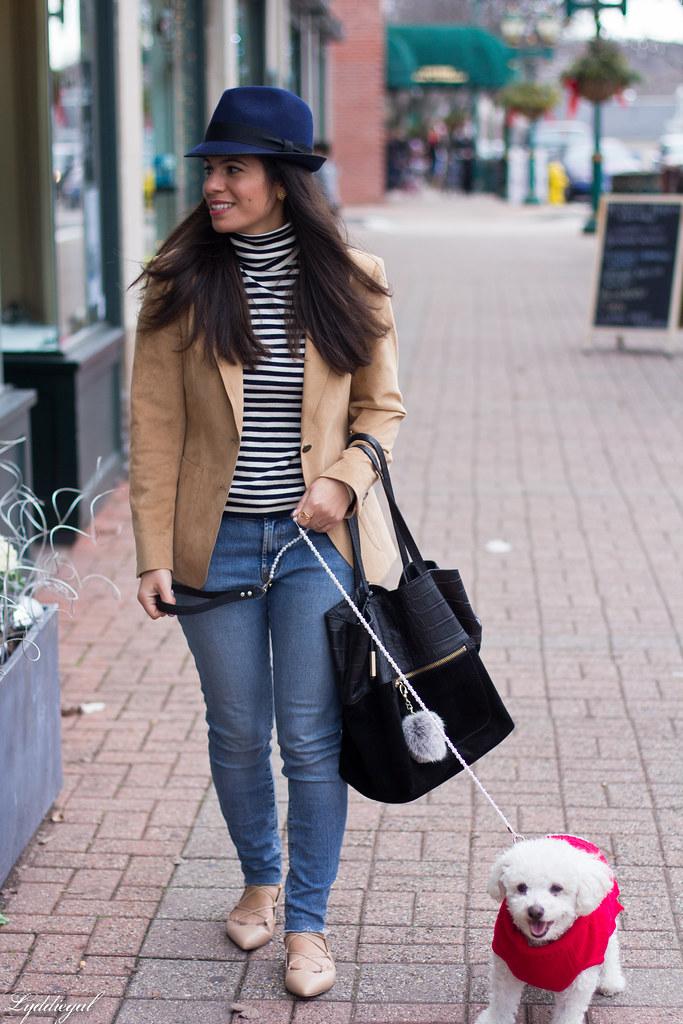 Striped shirt, camel blazer, denim, fedora-1.jpg