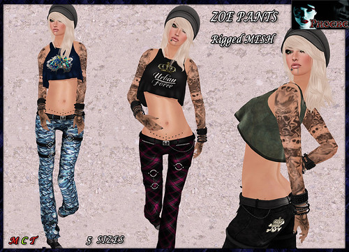 [$60L OFFER!] *P* Zoe MESH Pants ~Black, Blue Camo, Pink Plaid, Wasted Black~