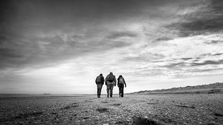 Guys on the beach - Drogheda, Ireland - Black and white street photography
