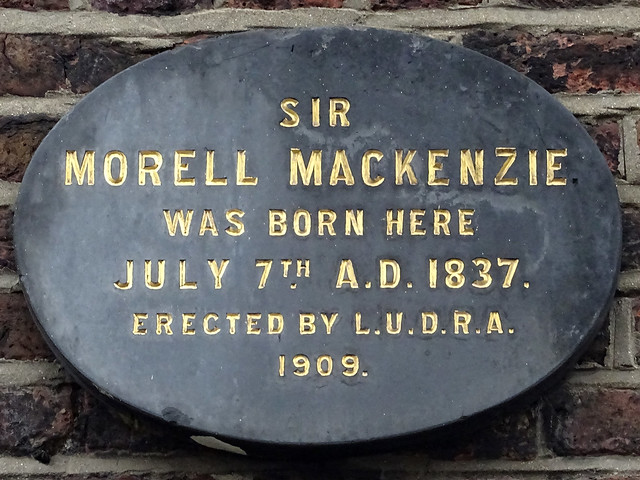 Morell Mackenzie black plaque - Sir Morell Mackenzie was born here July 7th A.D. 1837