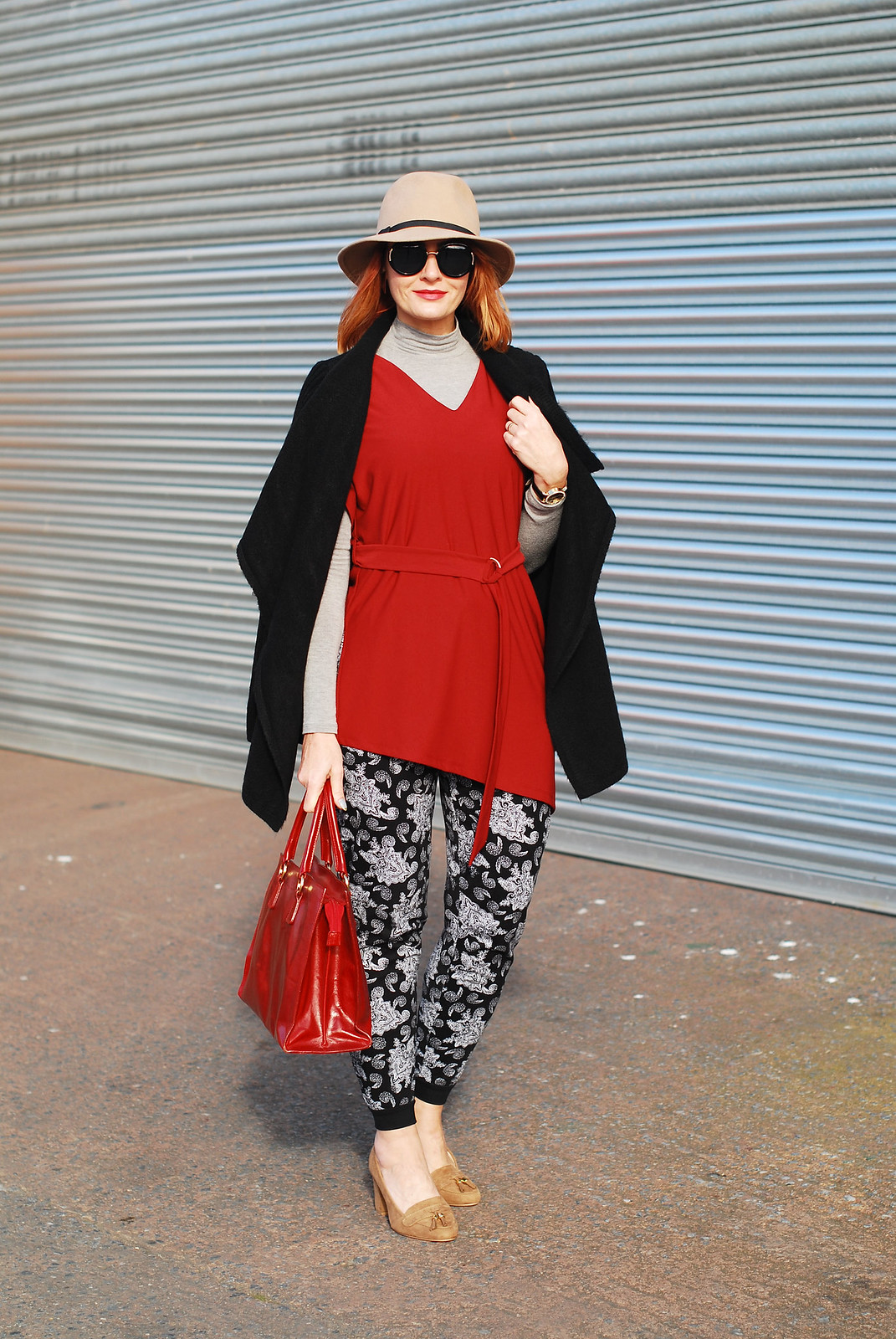 Layered tunic, roll neck and paisley joggers | Not Dressed As lamb