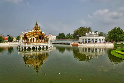 park sky lake reflection water architecture garden thailand mirror pain gate asia sony royal palace southeast alpha dslr bang 77 province slt phra ayutthaya thinang aisawan thiphyaart tevarajkanlai