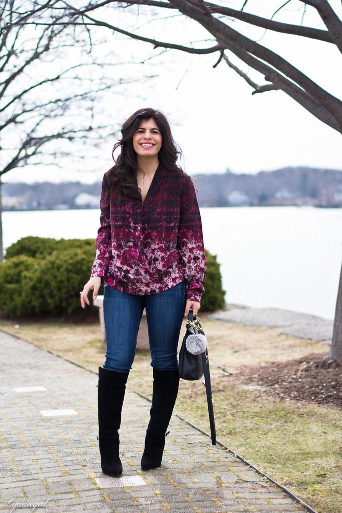 floral wrap blouse, denim, black boots, coach bag.jpg