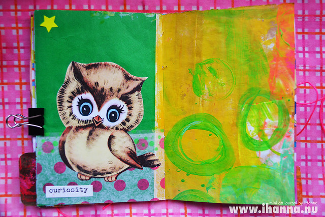 Mini Art Journal Cute Owl and Acrylics - created by iHanna