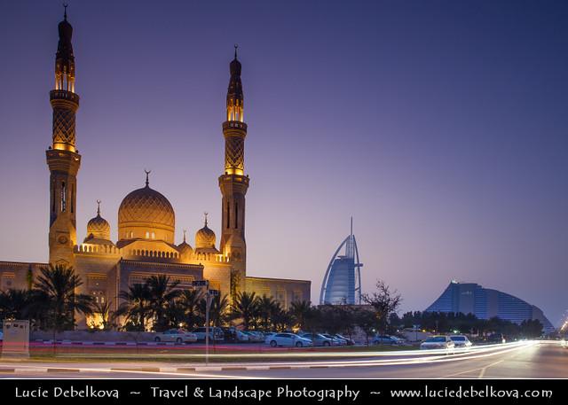 United Arab Emirates - UAE - Dubai - Jumeirah Mosque at Dusk - Twilight - Blue Hour - Night