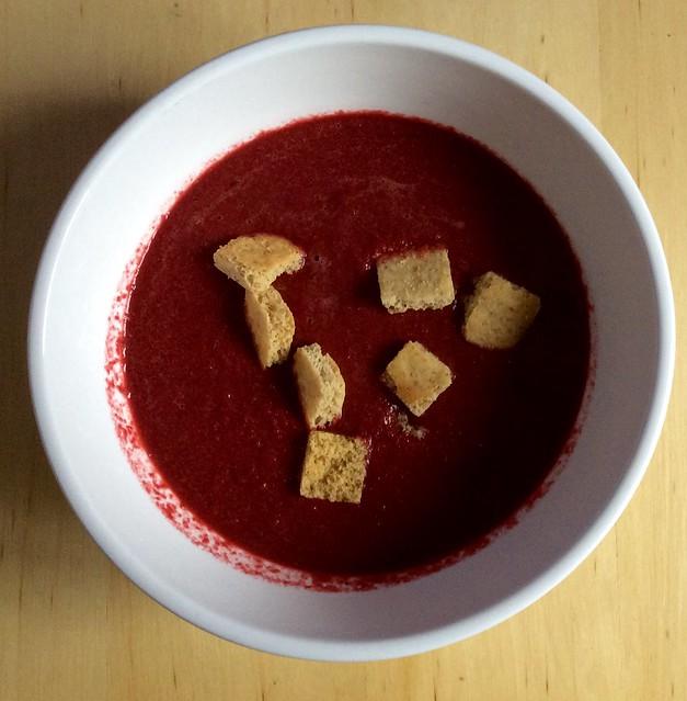 Beetroot and matcha soup
