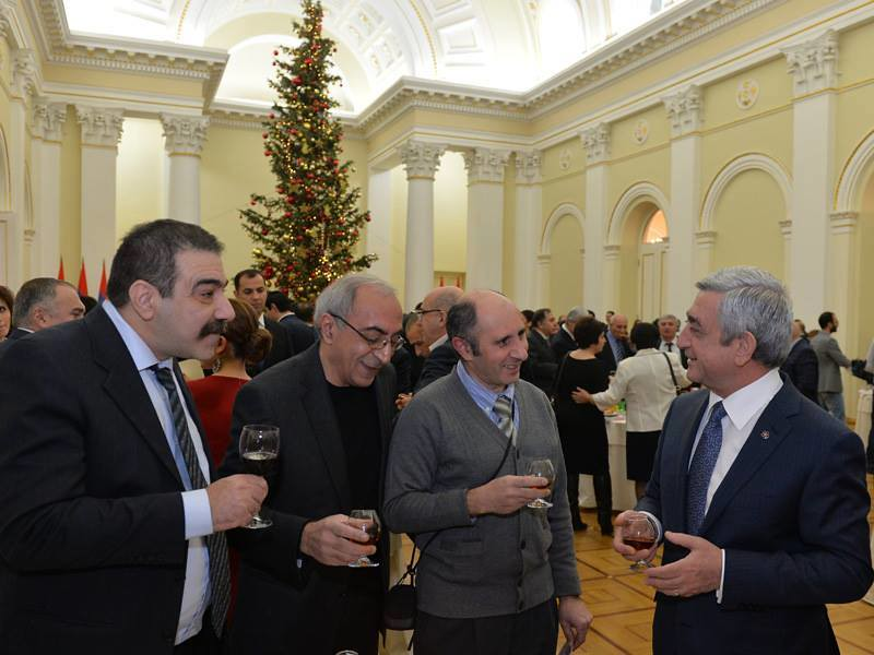 Hovhannes Galajyan with colleagues at the presidential palace
