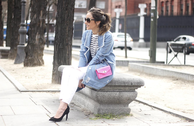 Stripes and Denim Coat Gloria Ortiz Heels Accessories Sunnies Outfit16