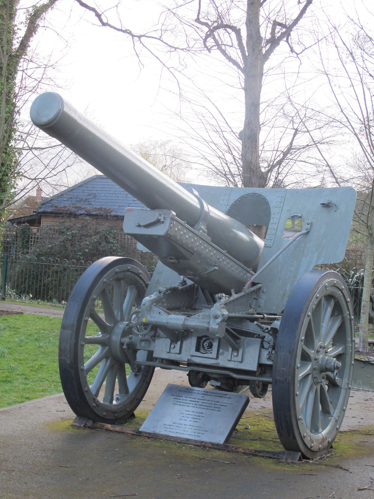 Japanese WWII Artillery Gun, Memorial Park Romsey SWC Walk 58 Mottisfont and Dunbridge to Romsey taken by Karen C.