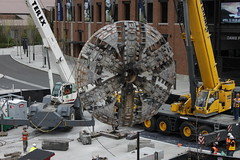 TBM 1 (Brenda) cutterhead lift at UW Station