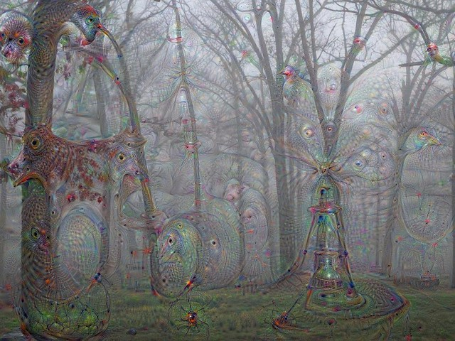 Trees in the fog w/Deep Dream Generator