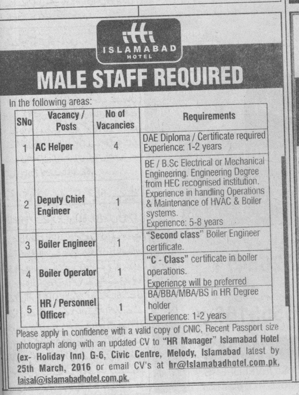 Islamabad Hotel Jobs 2016