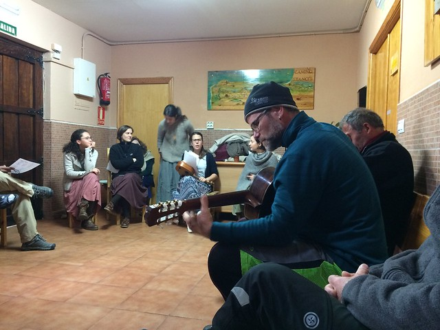 Jeff on guitar - Santa Maria Parroquial Albergue, Carrion de los Condes