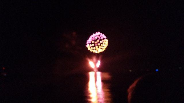 New Year's Eve Fireworks over Lago Llanquihue in Puerto Varas, Chile