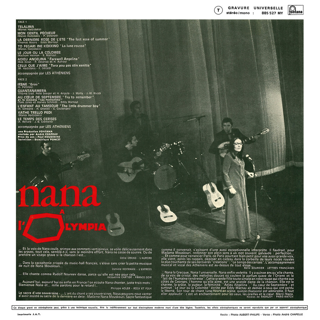 Nana Mouskouri à l'Olympia