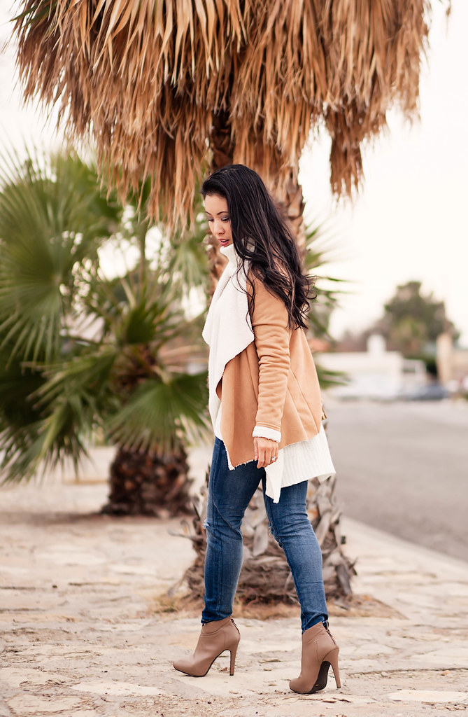 cute & little blog | petite fashion | suede shearling waterfall jacket, white turtleneck sweater, distressed jeans | neutral fall outfit