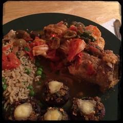 #homemade #fish rolls alla #Scilla + stuff mushrooms and rice &a peas #CucinaDelloZio