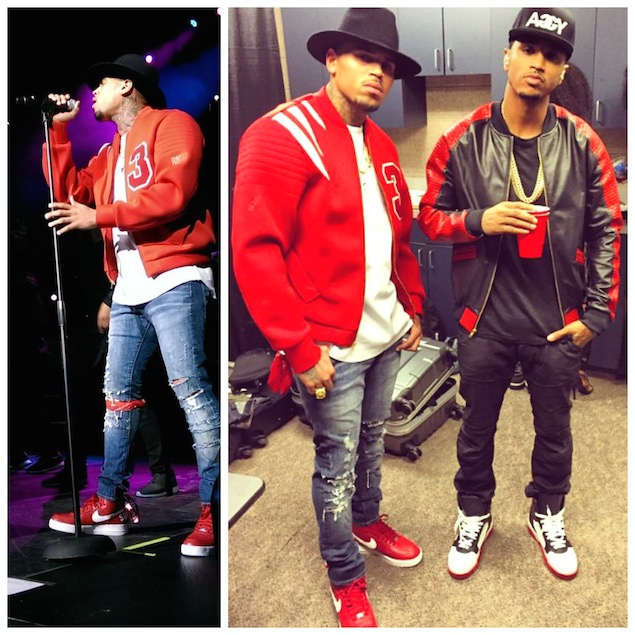 Chris-Brown-Custom-Renowned-Jacket-Fendi-Hat-Vie-Riche-Tee-Red-Supreme-Nike-AF1-Sneakers-11