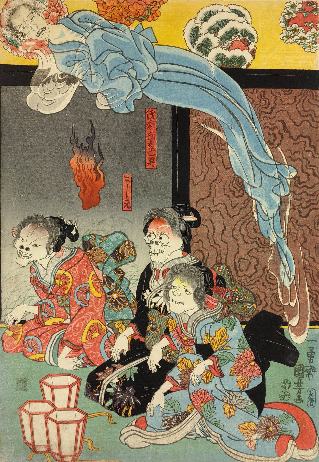 Utagawa Kuniyoshi - Orikoshi Masatomo (centre) (played by Bando Hikosaburo IV) is attacked by the ghost of Asakura Togo 1853 (right panel)