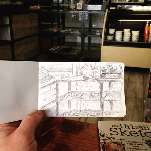 Moleskine Sketching at Legacy Bagelry
