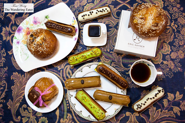 Pain au Chocolat des Amoureux, Candied Ginger & Dark Chocolate Viennois, various eclairs