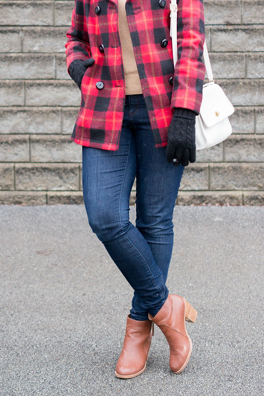 embellished sweater + buffalo plaid coat + jeans + cognac ankle boots | Style On Target