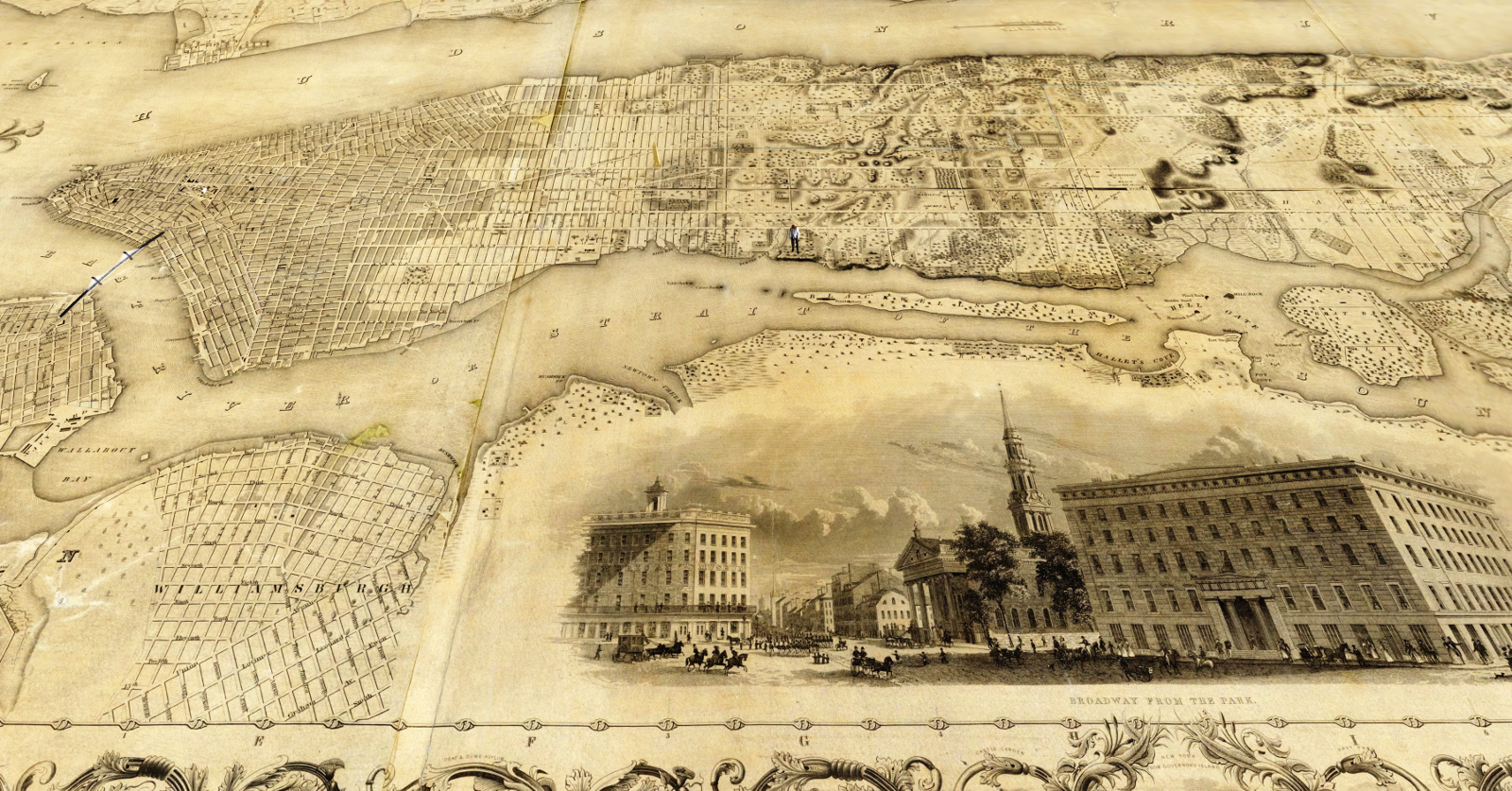A 19th century map of New York City by J.H. Colton, on which visitors can walk