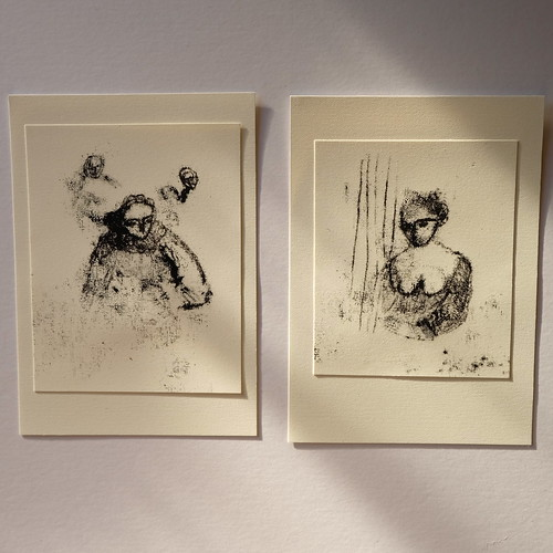 two monoprint drawings - portraits