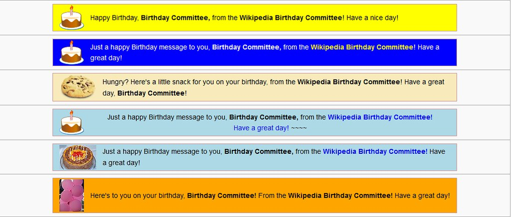 Wikipedia: Birthday Commitee