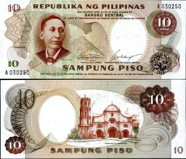 PHILIPPINES 10 PESO P 144 SIGN 7 UNC