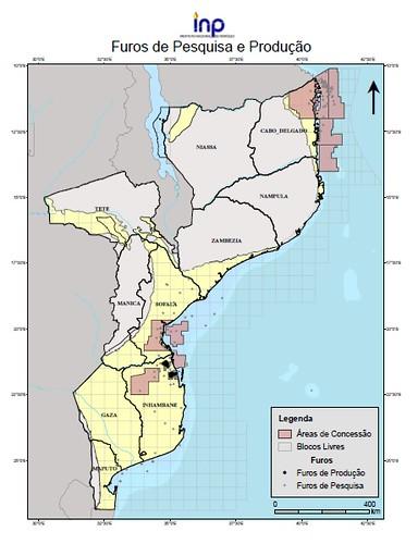 Mosambikin kansallisen öljyinstituutin kartta maan öljyvarantojen hyödyntämis- ja tutkimusalueista (www.inp.gov.mz)