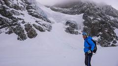 Lodowiec schodzący z Piz Argient i Piz Zuppo 3996m. Tomek na lodowcu Vedretta di Fellaria