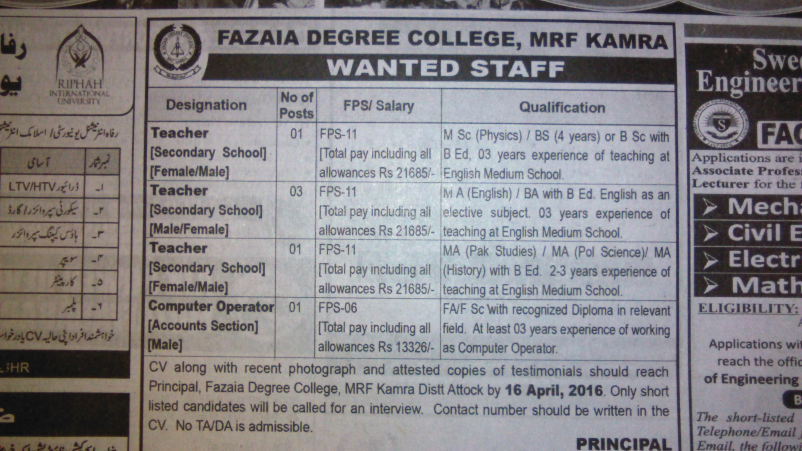 Fazia Degree College MRF Kamra Jobs 2016