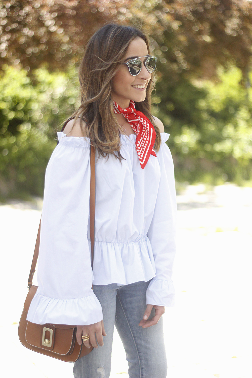 off the shoulders top with bell sleeves red bandana nude heels dior sunglasses spring outfit16