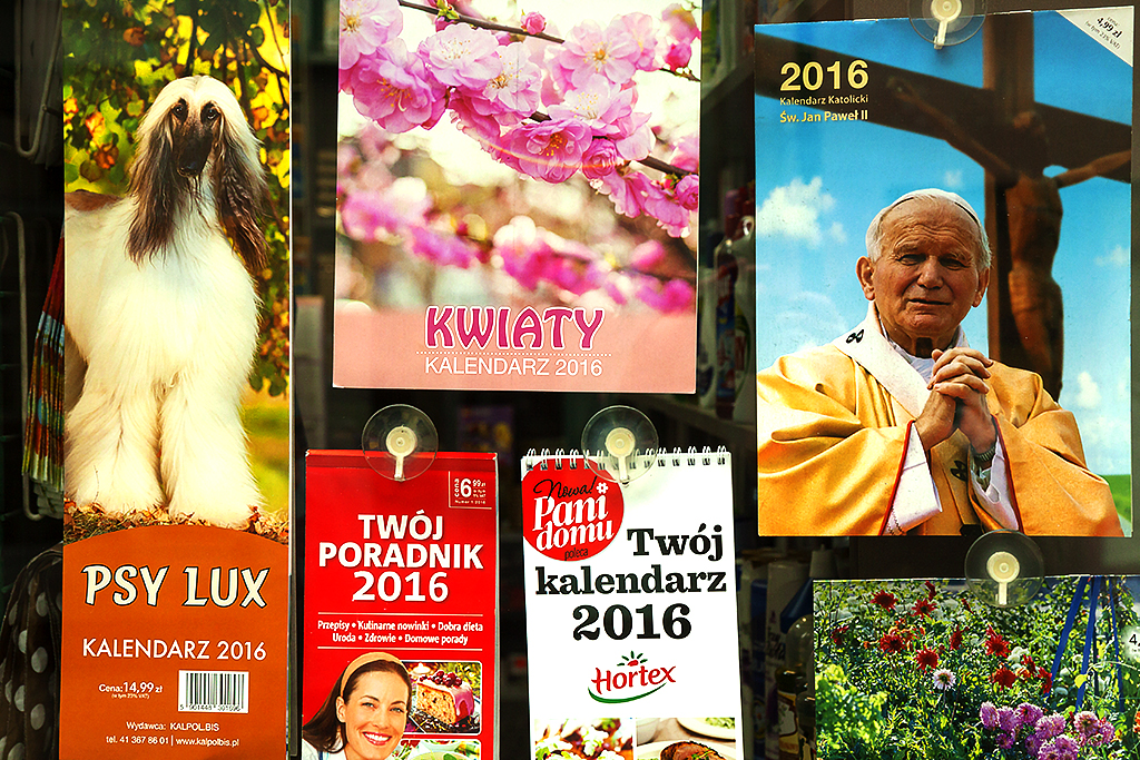 Calendars, one with Pope John Paul II--Luban