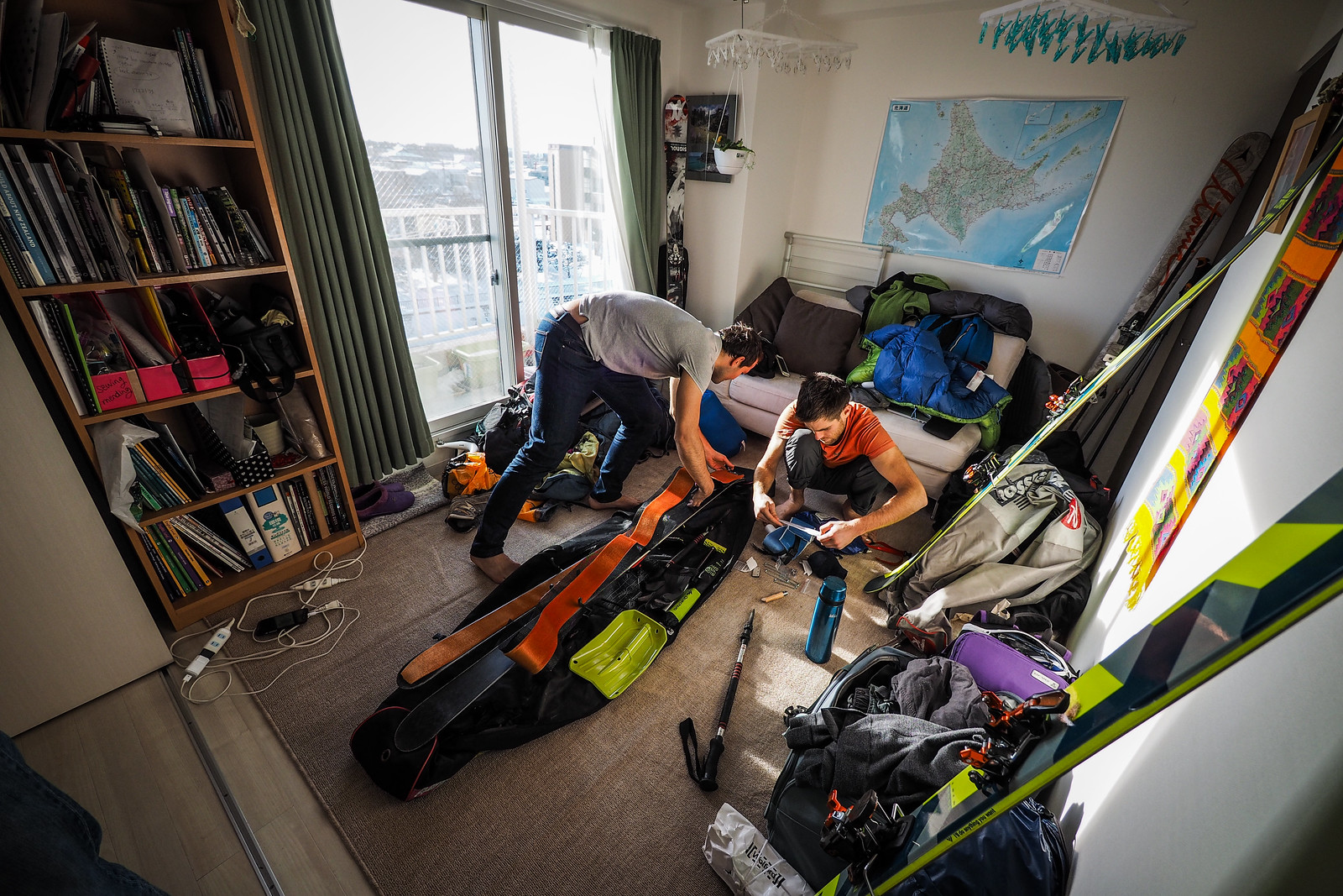 Preparing skis and buying supplies for a Hokkaido backcountry ski trip (Chitose City, Japan)