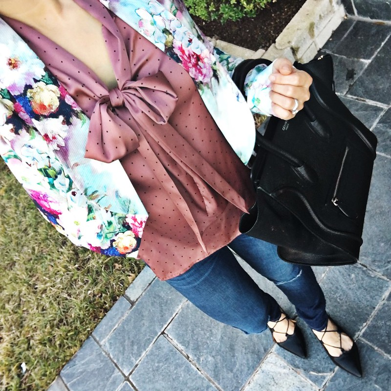cute & little blog | watercolor floral blazer, pink bow polka dot blouse, petite distressed jeans, lace-up flats, celine luggage tote | spring outfit