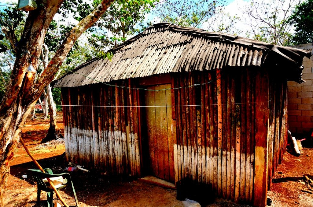 wooden shack with tin roof