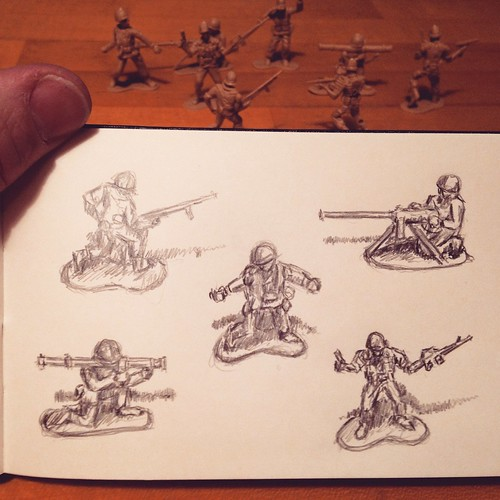 "Sketching plastic army men and humming Stan Ridgeway's ""Camouflage""."