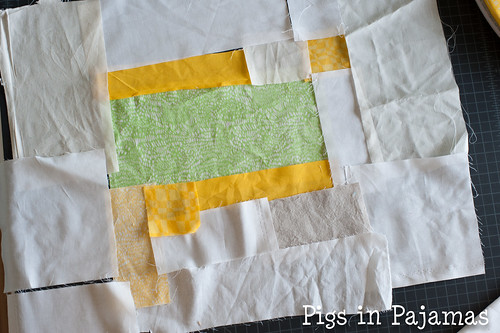 Improv quilting with background