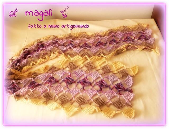 sciarpa quadratini pieni e vuoti panna beige lilla (2)