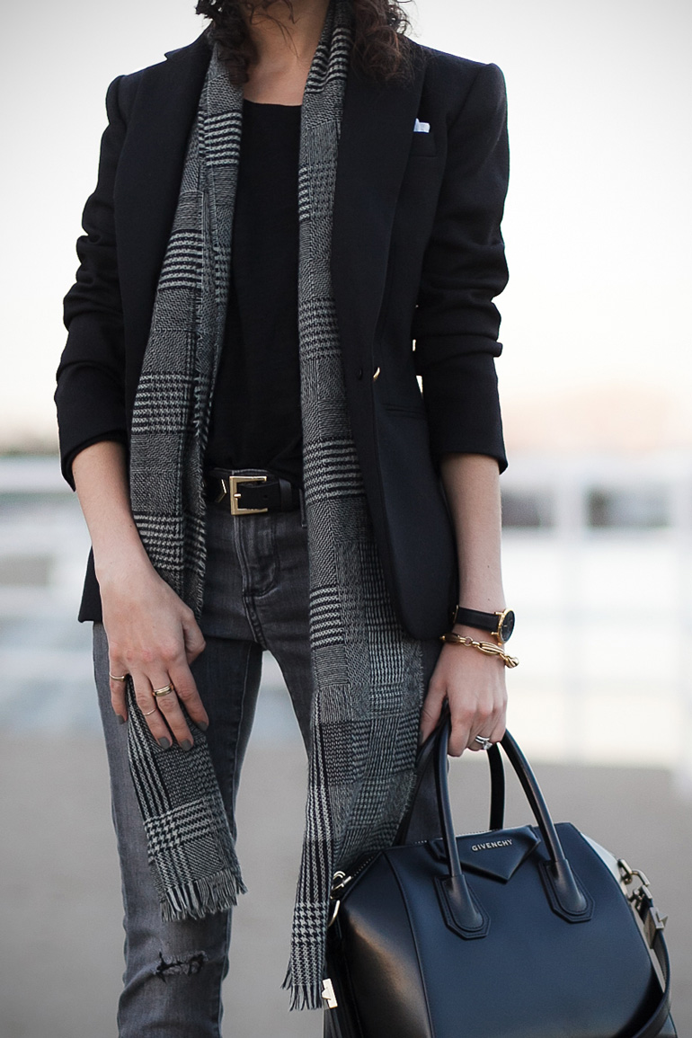 Plaid scarf. How petites can wear oversized scarves.