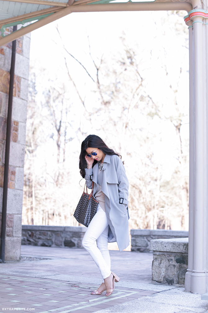 gray trench coat white jeans spring outfit 1