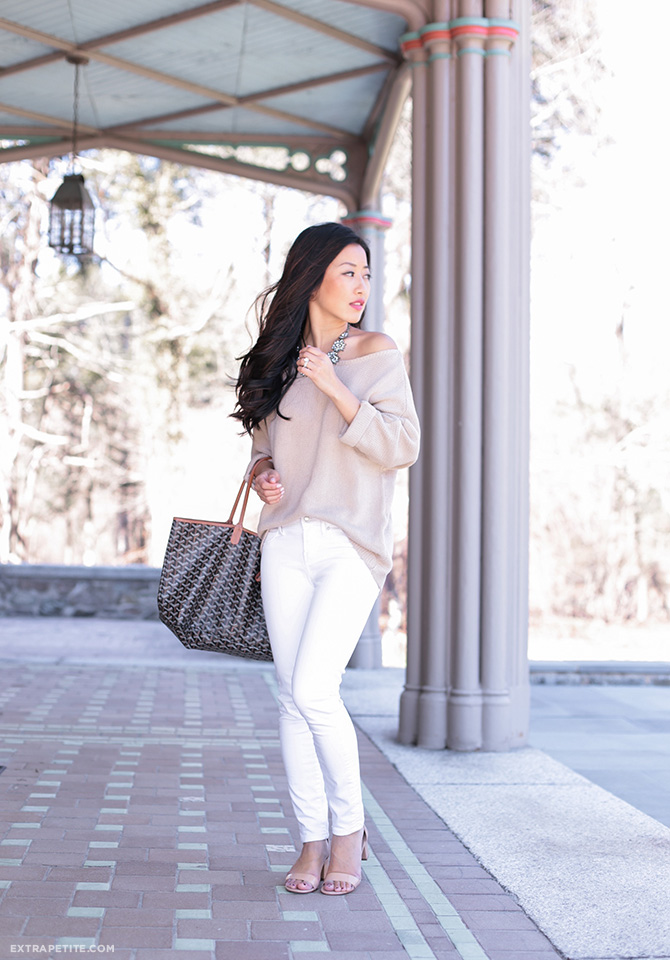 slouchy off shoulder sweater white jeans casual spring outfit